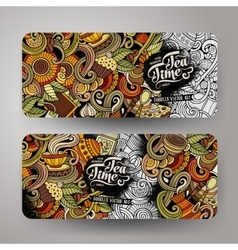 Cartoon doodles cafe banners vector image