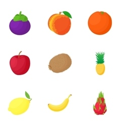 Farm fruit icons set cartoon style vector image vector image