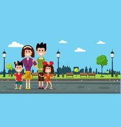 happy family in city prk flat design vector image vector image