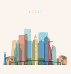 miami state florida skyline detailed silhouette vector image vector image