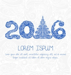 New Year card with decorative figures 2016 vector image vector image