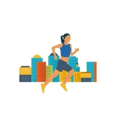 Running woman Healthy lifestyle fitness vector image