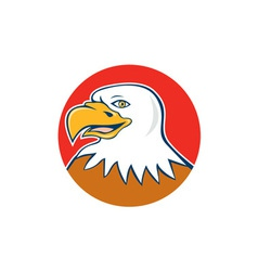 American Bald Eagle Head Smiling Circle Cartoon vector image