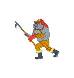 Bulldog Firefighter Pike Pole Fire Axe Drawing vector image