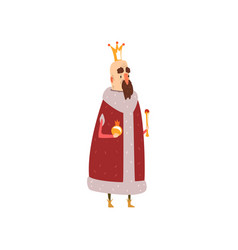 funny mald king character in red mantle holding vector image