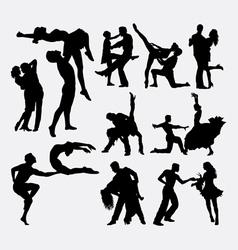 Happy dance couple silhouette vector image vector image
