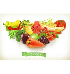 Healthy food fruits and vegetables vector image vector image