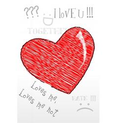 heart sketch vector image vector image
