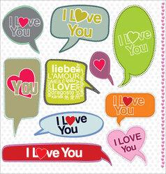 Speech bubbles retro design I love you vector image vector image