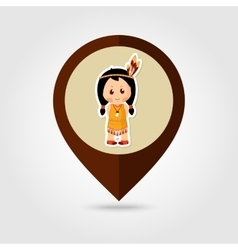 American Indian children mapping pin icon vector image
