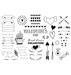 doodle set of design elements about love vector image vector image