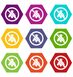 no fly sign icon set color hexahedron vector image vector image