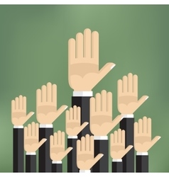 Raised hands on the green background vector image