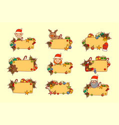 set of hand drawn christmas banners empty for text vector image