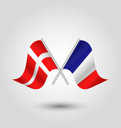 Two crossed danish and french flags on silv vector