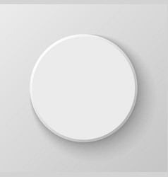 White Blank Circle Button Icon on Light Background vector image vector image