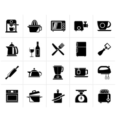 Black Kitchenware objects and equipment icons vector image vector image