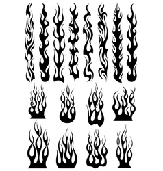 Black tribal flames set vector image
