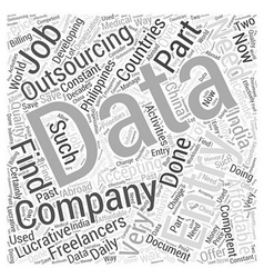 data entry outsourcing Word Cloud Concept vector image vector image