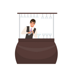 Smiling bartender mixing a cocktail drink in vector