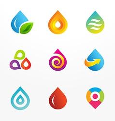 Water drop symbol logo icon set vector image vector image