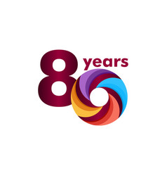 80 year anniversary colorful template design vector