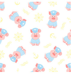 A funny piggy in a sailor sweater and captain hat vector