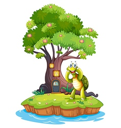 An island with a big tree and a turtle vector