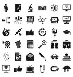 analysis icons set simple style vector image