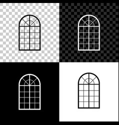 arched window icon isolated on black white and vector image
