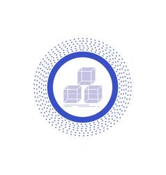 Arrange design stack 3d box glyph icon isolated vector