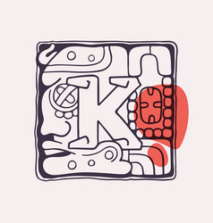 Aztec style letter k initial vector