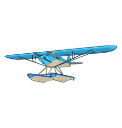 Blue seaplane on white background vector