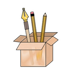 cardboard box with fountain pen and pencils in vector image