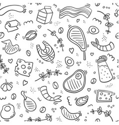 Carnivore diet seamless outline pattern food vector
