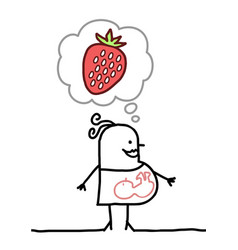 Cartoon pregnant woman thinking about strawberrie vector