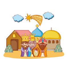 Christmas nativity scene cartoon vector