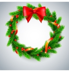 Christmas wreath fir branches red berries and vector