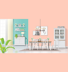 Colorful dining room in modern rustic style vector