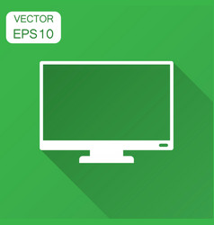computer monitor icon in flat style television vector image