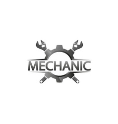 creative gear wrench monochrome label logo design vector image