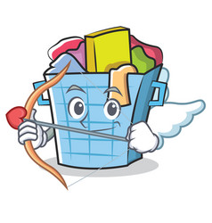 Cupid laundry basket character cartoon vector