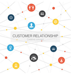Customer relationship trendy web template with vector