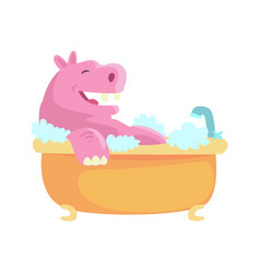 cute cartoon hippo taking a bath pink vector image