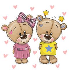 Cute cartoon teddy bears on a hearts background vector