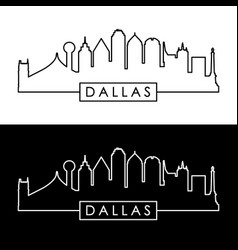 Dallas skyline black and white linear style vector
