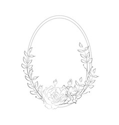Delicate floristic round frame with flowers vector