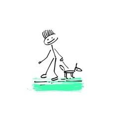 Drawing sketch doodle human stick figure man vector