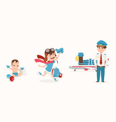 dream job guy from childhood loved airplane set vector image