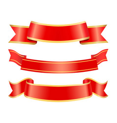 Empty ribbons red banners for messages stripes vector